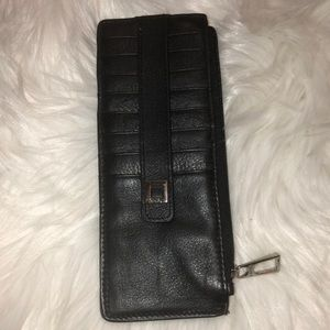 Lodis leather wallet zip pocket in center